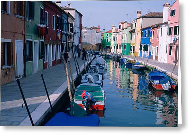 Reflections Of Sky In Water Greeting Cards - Houses Along A Canal, Burano, Italy Greeting Card by Panoramic Images