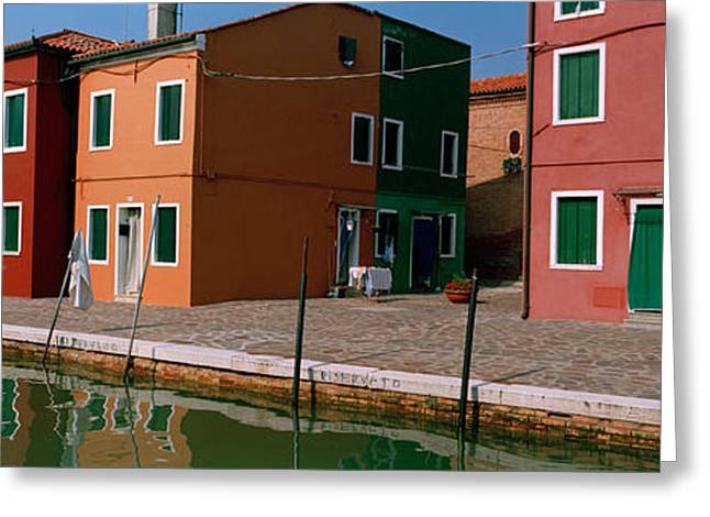 Boats In Water Greeting Cards - Houses Along A Canal, Burano, Venice Greeting Card by Panoramic Images