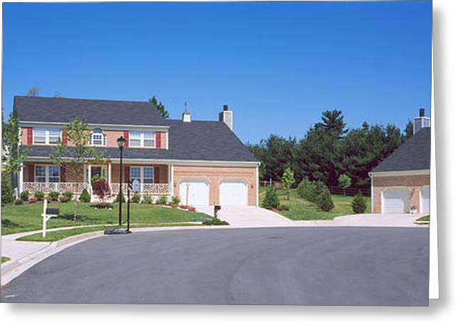Colonial Style Greeting Cards - Houses Along A Road, Seaberry Greeting Card by Panoramic Images
