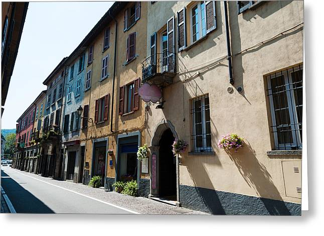 Photography Of Windows Greeting Cards - Houses Along A Street, Cernobbio, Como Greeting Card by Panoramic Images
