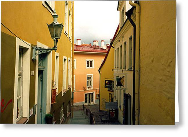 Tallinn Greeting Cards - Houses Along A Street, Toompea Hill Greeting Card by Panoramic Images