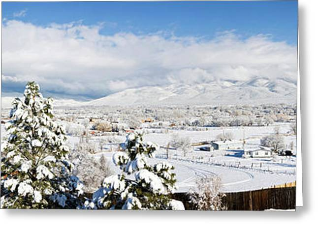 Houses And Trees Covered With Snow Greeting Card by Panoramic Images