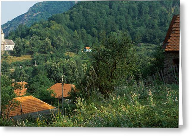 Romania Photographs Greeting Cards - Houses At The Hillside, Transylvania Greeting Card by Panoramic Images