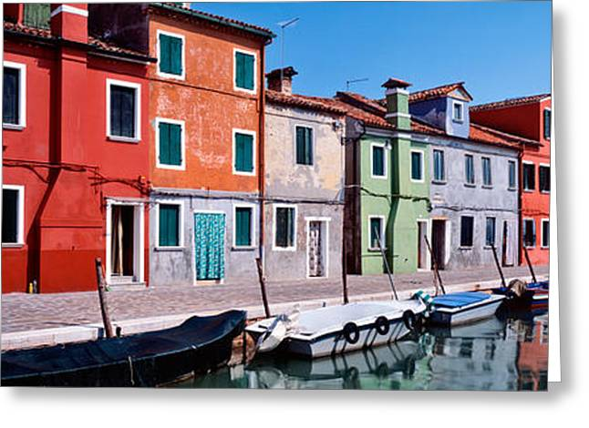 Wooden Building Greeting Cards - Houses At The Waterfront, Burano Greeting Card by Panoramic Images