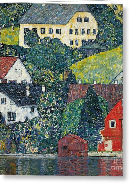 Austria Paintings Greeting Cards - Houses at Unterach on the Attersee Greeting Card by Gustav Klimt