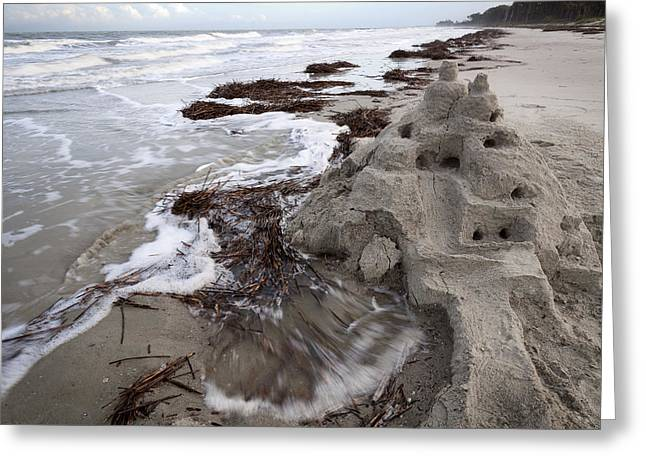 Sand Castles Greeting Cards - Houses Built On Sand Greeting Card by Benjamin DeHaven