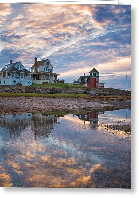 Maine Landscape Greeting Cards - Houses by the Cribstone Greeting Card by Darylann Leonard Photography