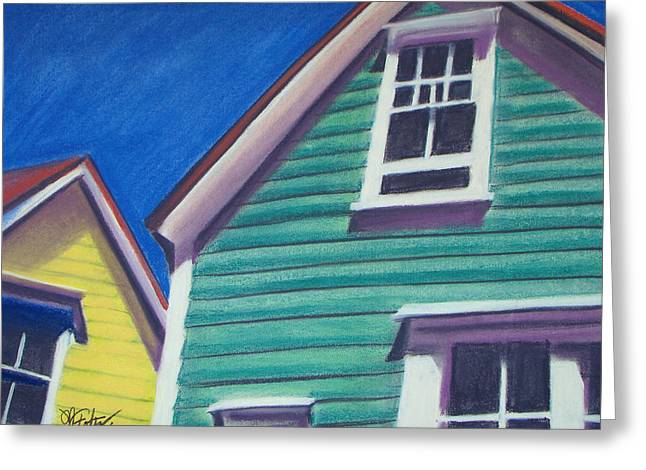 Original work Pastels Greeting Cards - Houses Green and Yellow Greeting Card by Michael Foltz