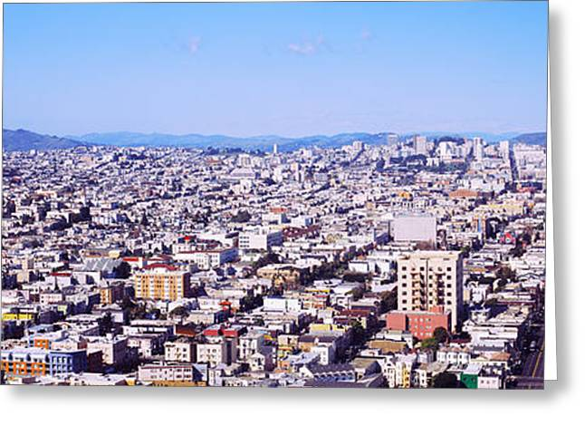 Residential Structure Greeting Cards - Houses In A City, San Francisco Greeting Card by Panoramic Images