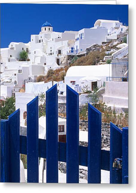 Oia Greeting Cards - Houses In A Town, Oia, Santorini Greeting Card by Panoramic Images