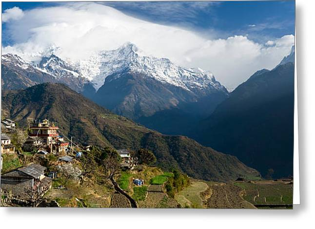Mountain Greeting Cards - Houses In A Town On A Hill, Ghandruk Greeting Card by Panoramic Images