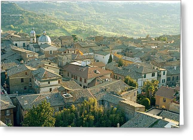 Orvieto Greeting Cards - Houses In A Town, Orvieto, Umbria, Italy Greeting Card by Panoramic Images