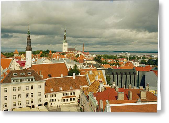 Estonia Greeting Cards - Houses In A Town, Tallinn, Estonia Greeting Card by Panoramic Images