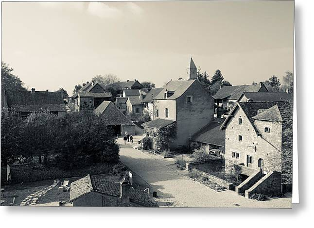 Residential Structure Greeting Cards - Houses In A Village, Brancion Greeting Card by Panoramic Images