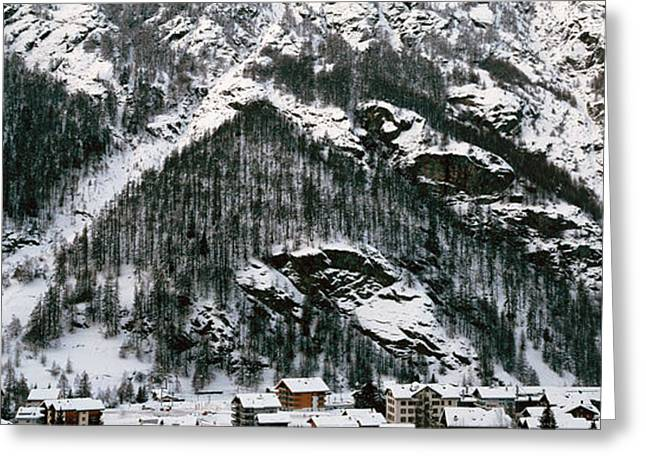 Valais Canton Greeting Cards - Houses In A Village In Winter, Tasch Greeting Card by Panoramic Images