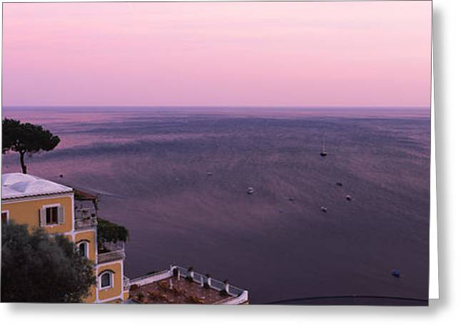 Amalfi Sunset Greeting Cards - Houses In A Village On The Coast Greeting Card by Panoramic Images