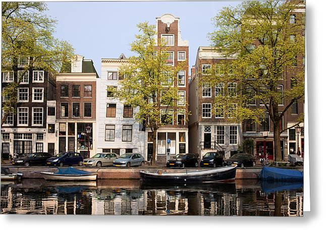 Old Home Place Greeting Cards - Houses in Amsterdam Greeting Card by Artur Bogacki