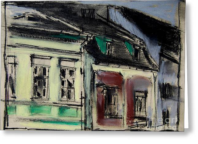 House Pastels Greeting Cards - Houses In Transylvania 2 Greeting Card by Mona Edulesco