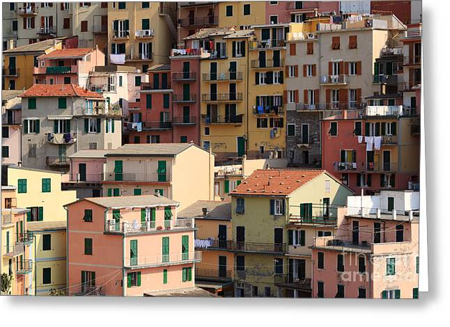Colombos Greeting Cards - Houses of Manarola Cinque Terre Italy Greeting Card by Matteo Colombo