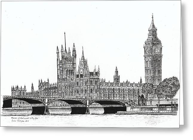 Historical Buildings Drawings Greeting Cards - Houses of Parliament and Big Ben in London Greeting Card by Brian Thompson