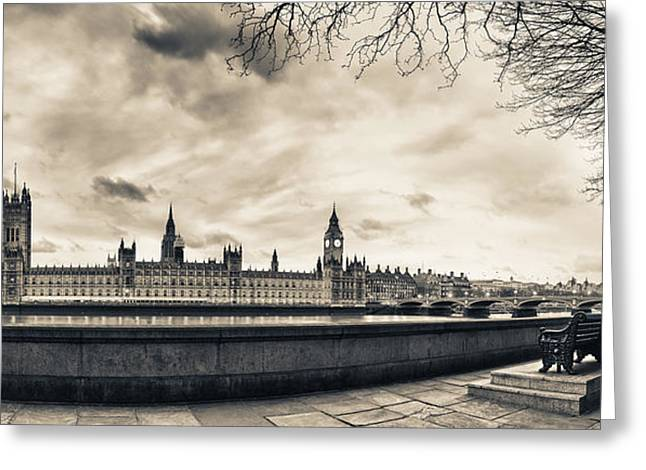 Seated Pyrography Greeting Cards - Houses of Parliament at Dusk Greeting Card by Adrian Brockwell