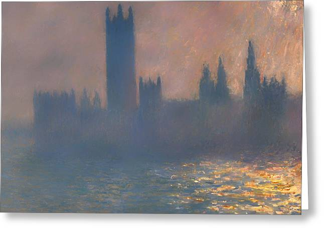 Haze Paintings Greeting Cards - Houses of Parliament Greeting Card by Claude Monet
