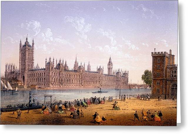 Charles River Drawings Greeting Cards - Houses Of Parliament From The South Greeting Card by Achille-Louis Martinet