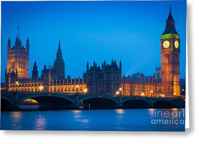Illuminate Greeting Cards - Houses of Parliament Greeting Card by Inge Johnsson