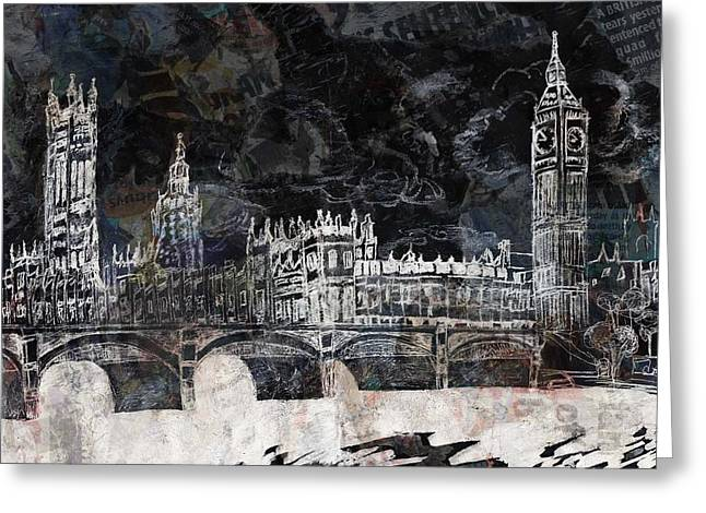 British Royalty Mixed Media Greeting Cards - Houses of Parliament Greeting Card by Lauren Caldwell