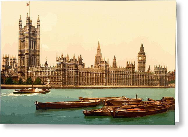 19th Century America Digital Greeting Cards - Houses of Parliament London - England Greeting Card by Don Kuing
