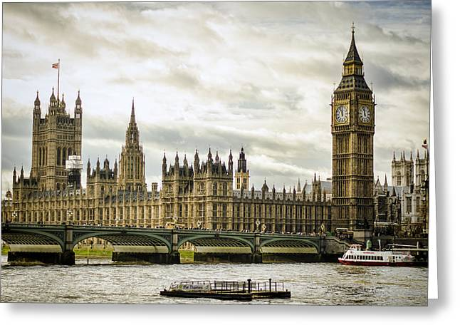 British Royalty Greeting Cards - Houses of Parliament on The Thames Greeting Card by Heather Applegate