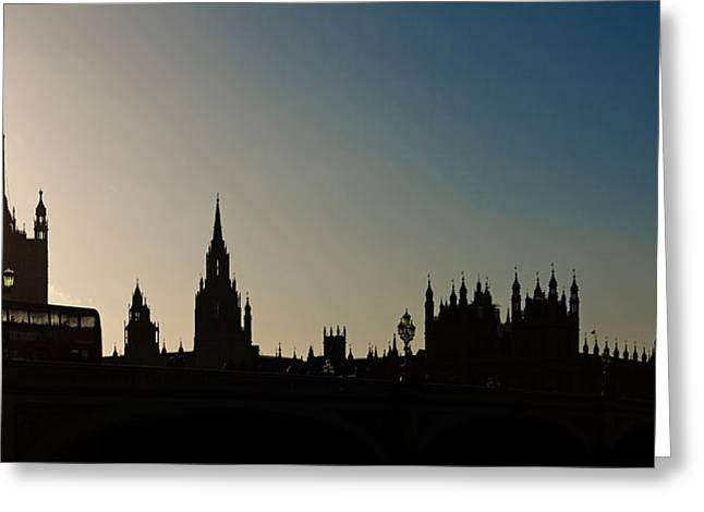 Famous Silhouettes Greeting Cards - Houses of Parliament Skyline in Silhouette Greeting Card by Susan  Schmitz