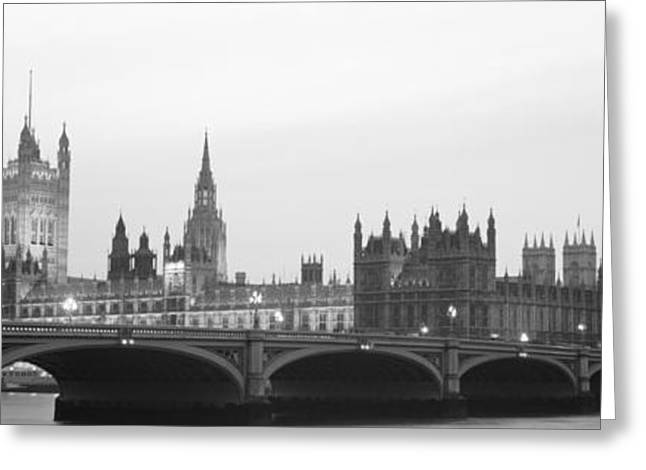 Purple Clouds Greeting Cards - Houses Of Parliament Westminster Bridge Greeting Card by Panoramic Images