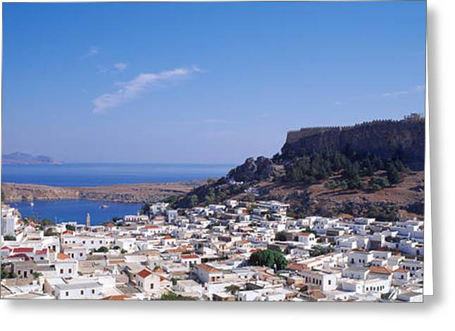 Dodecanese Greeting Cards - Houses On An Island, Lindos, Rhode Greeting Card by Panoramic Images
