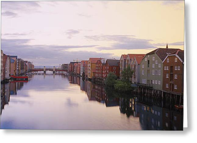 Reflections In River Greeting Cards - Houses On Both Sides Of A River Greeting Card by Panoramic Images
