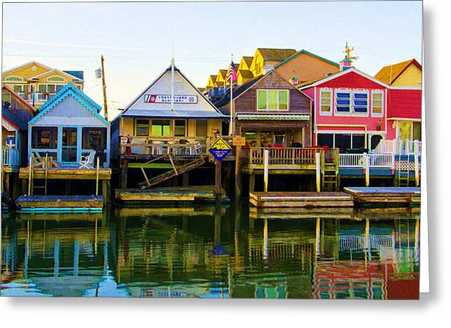 Coastguard Greeting Cards - Houses on Cape May Harbor Greeting Card by Bill Cannon