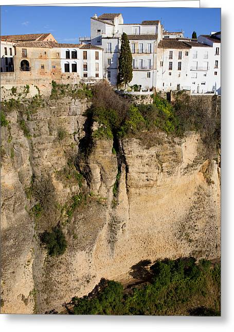 Hill Top Village Greeting Cards - Houses on Rock in Ronda Greeting Card by Artur Bogacki