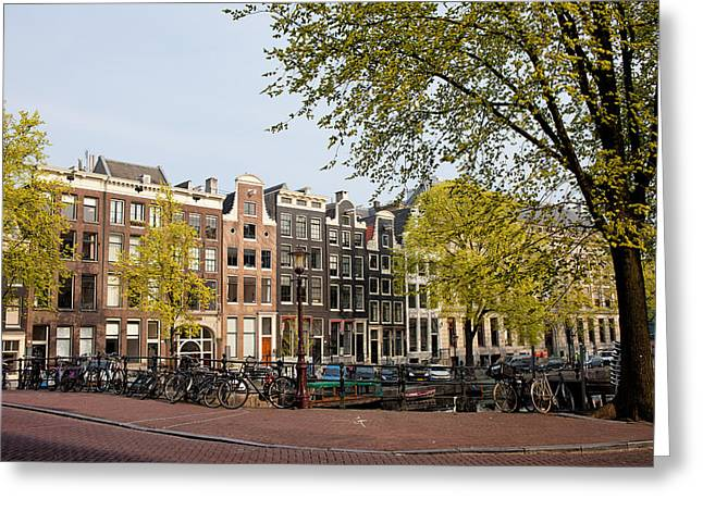 Old Home Place Greeting Cards - Houses on Singel Canal in Amsterdam Greeting Card by Artur Bogacki