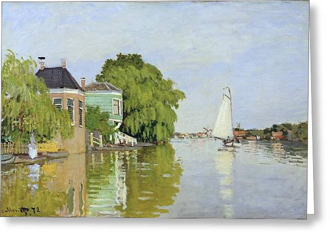 New York The Metropolitan Museum Of Art Greeting Cards - Houses on the Achterzaan Greeting Card by Claude Monet