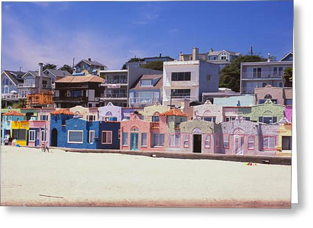 Capitola Greeting Cards - Houses On The Beach, Capitola, Santa Greeting Card by Panoramic Images