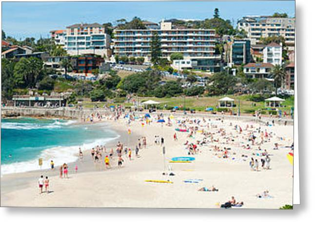 Ocean Photography Greeting Cards - Houses On The Coast, Bronte Beach Greeting Card by Panoramic Images
