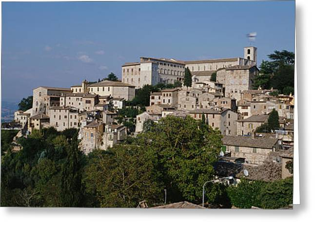 Umbria Greeting Cards - Houses On The Top Of A Hill, Todi Greeting Card by Panoramic Images