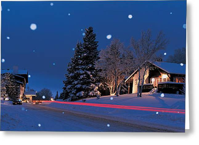 Winter Travel Greeting Cards - Houses Snowfall Nh Usa Greeting Card by Panoramic Images