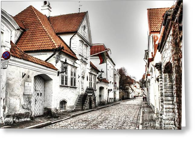 People Pyrography Greeting Cards - Houses streets of Tallinn Greeting Card by Yury Bashkin