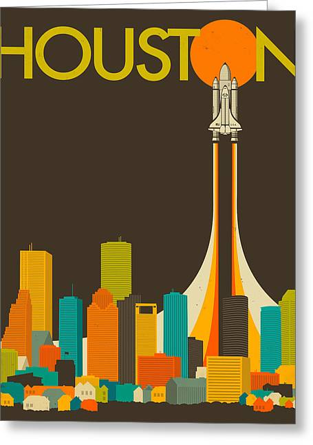 Houston Greeting Cards - Houston Skyline Greeting Card by Jazzberry Blue