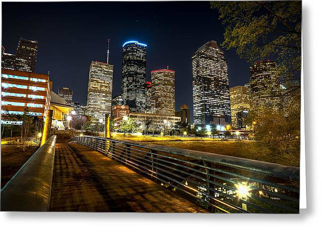 The American Buffalo Greeting Cards - Houston Across the Bayou Greeting Card by David Morefield