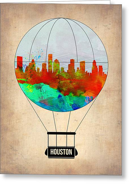 Balloon Digital Greeting Cards - Houston Air Balloon Greeting Card by Naxart Studio