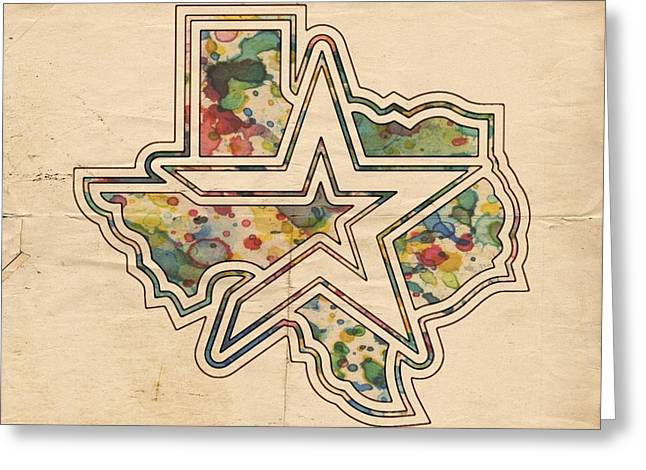Houston Astros Greeting Cards - Houston Astros Logo Vintage Greeting Card by Florian Rodarte