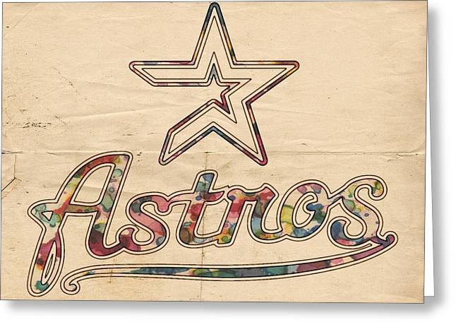 Houston Astros Greeting Cards - Houston Astros Poster Art Greeting Card by Florian Rodarte