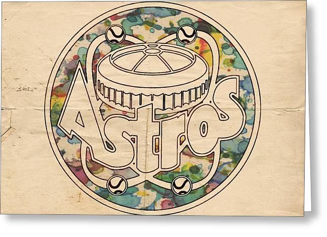 Houston Astros Greeting Cards - Houston Astros Vintage Poster Greeting Card by Florian Rodarte